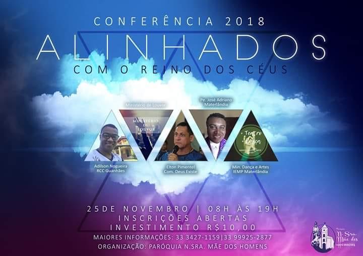 """Paróquia de Materlândia, convida para o congresso: """"Alinhados com o Reino dos Céus""""."""