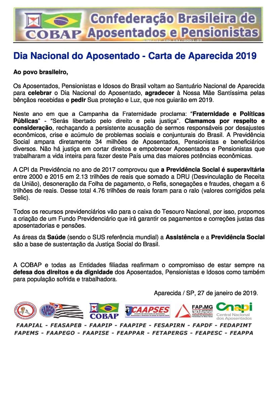 Dia Nacional do Aposentado – Carta de Aparecida 2019