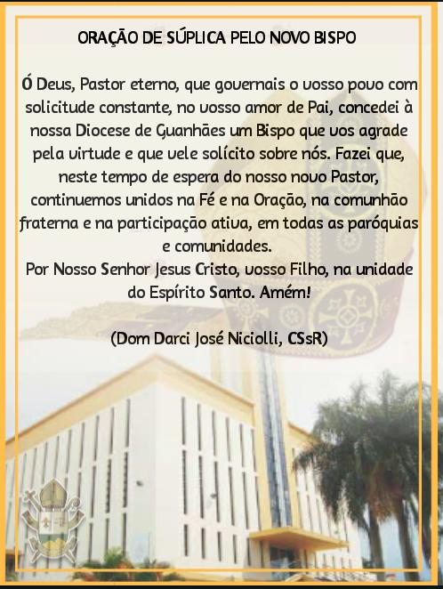 Oração pela nomeação do nosso novo Bispo